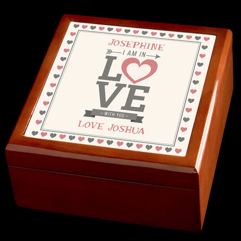 Personalised Valentines Day Jewellery Box, I am in love with you