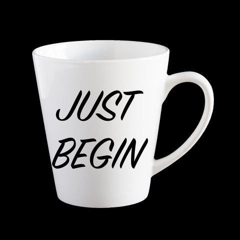 Just Begin personalised Coffee Mug, Funny Birthday Mug