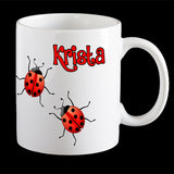 Personalised Lady bird Coffee Mug, Lady beetle personalised mug