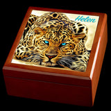 Personalised Leopard with blue eyes Jewellery Box