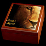 Personalised Lion Jewellery Box, Valentines Day Gift