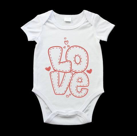 Love baby onesie, cute baby gift, baby romper suit, valentines day gift
