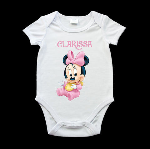 Personalised Minnie cute baby onesie, birth gift, new baby gift