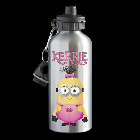 Personalised Girl Minion Water Bottle, Minion Stan as a girl pink dungarees