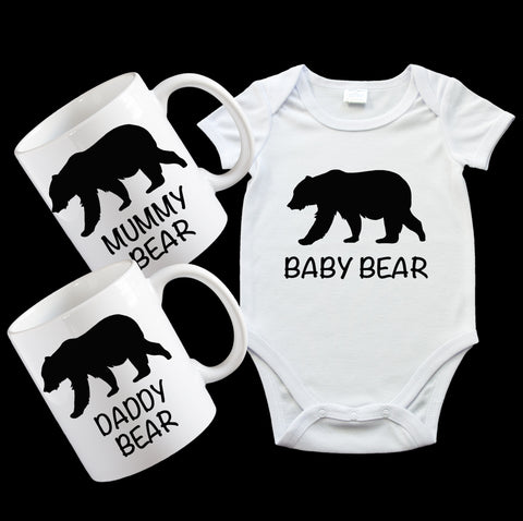 New Baby Gift Pack, including baby bear onesie and Mugs for Mummy Bear and Daddy Bear with cute matching design