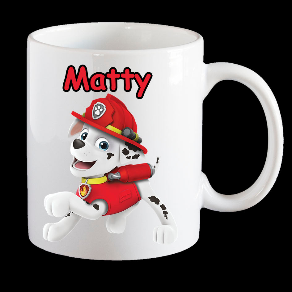 Personalised Marshall from Paw Patrol Coffee Mug, Marshall kids plastic mug