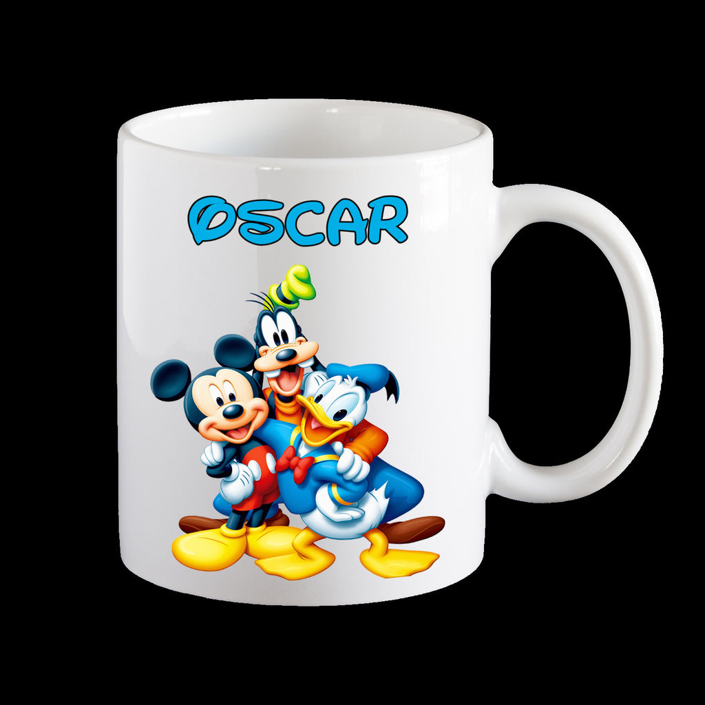 Personalised Mickey Mouse, Donald Duck and Goofy Coffee Mug