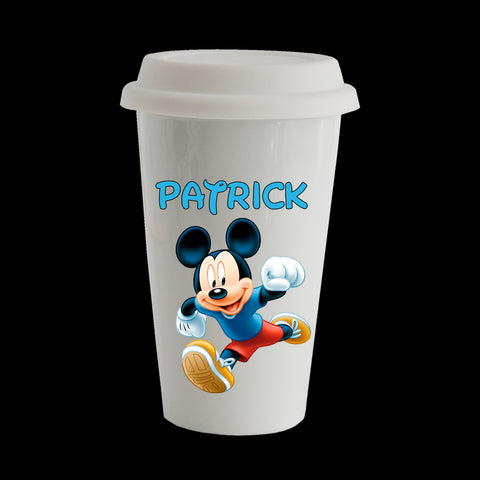 Personalised Mickey Mouse Eco Travel Mug, Ceramic double walled insulated 11oz