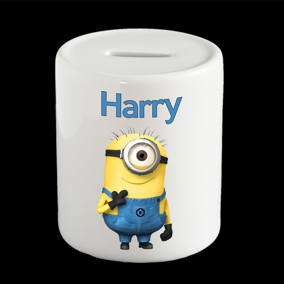 Personalised Funny Minion Stuart money box, Minion piggy bank
