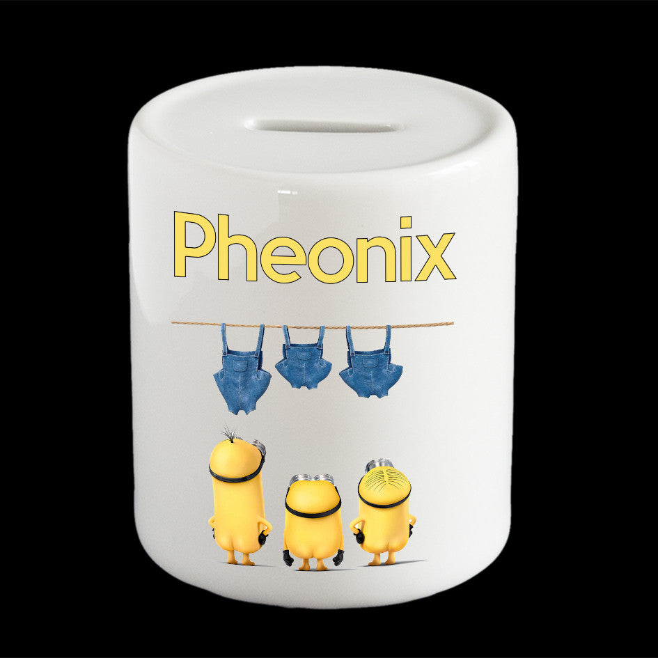 Personalised Funny Minion Bums money box, Minion piggy bank
