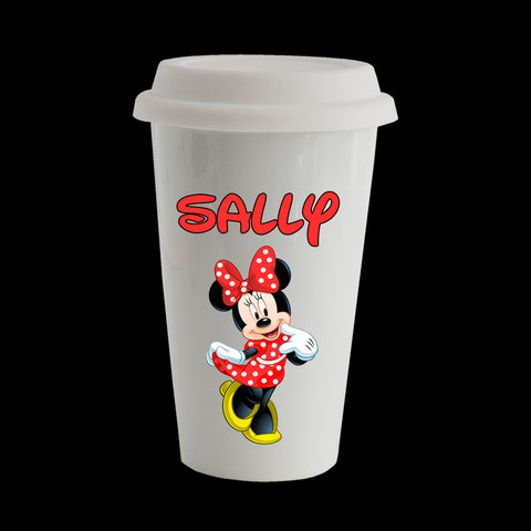 Personalised Minnie Mouse Eco Travel Mug, Ceramic double walled insulated 11oz
