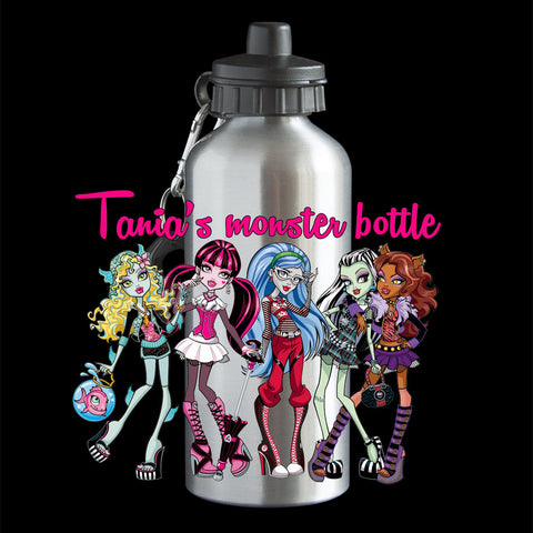 Personalised Monster High Girls Water Bottle, Ghoulia Yelps, Draculaura, Lagoona, Clawdeen, Frankie Stein