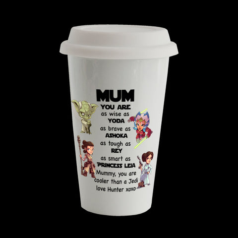 Personalised Star Wars Mum Eco Travel Mug, Ceramic double walled insulated mug, Mother's Day mug