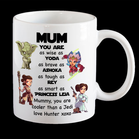 Mum Star Wars Personalised Mother's Day mug, Funny Cooler than a Jedi Coffee Mug, Mum Mug