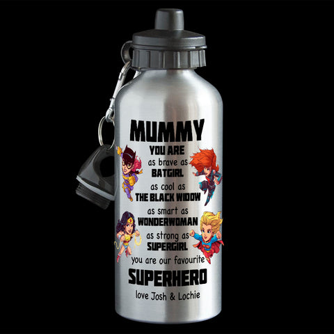 Personalised Mother's Day Superhero Water Bottle, Mum drink bottle