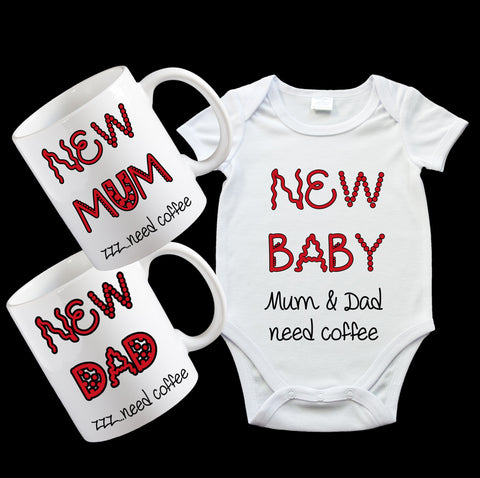 New Baby Gift Pack, including baby onesie and Mugs for Mum and Dad with cute matching design