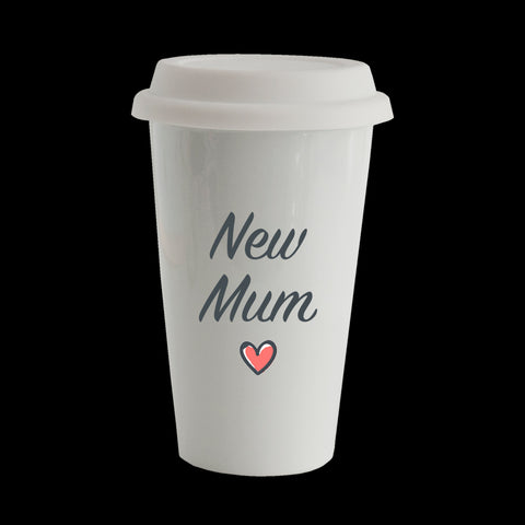 New Mum Eco Travel Mug, Ceramic double walled insulated mug, Mother's Day mug