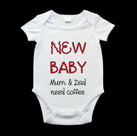 Funny New Born baby onesie, New Baby Mum and Dad need coffee