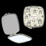Personalised Mirror Compact Panda design, make up mirror square, heart, round