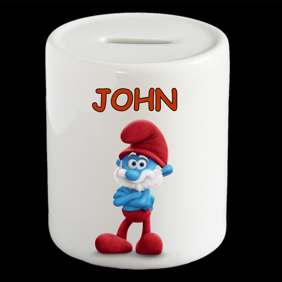 Personalised Papa Smurf piggy bank, Smurf money box