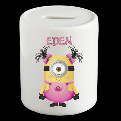 Personalised cute Girl Minion Bob money box, Minion piggy bank