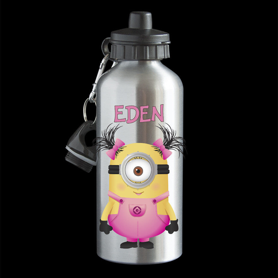Personalised Girl Minion Water Bottle, Minion Bob as a girl pink dress