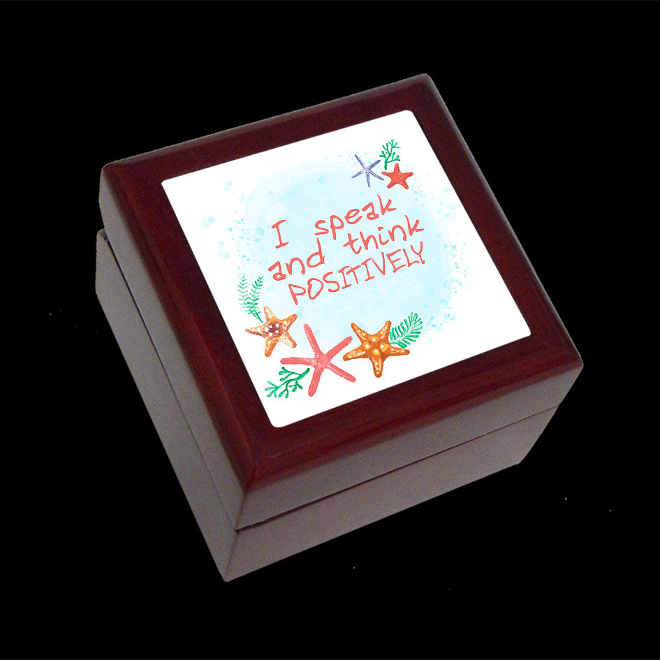 Small Jewellery Box, Earring or Ring Box, I speak and think positively affirmation