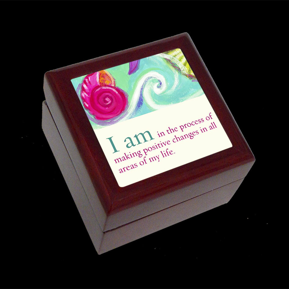 Small Jewellery Box, Earring or Ring Box, POsitive change affirmation