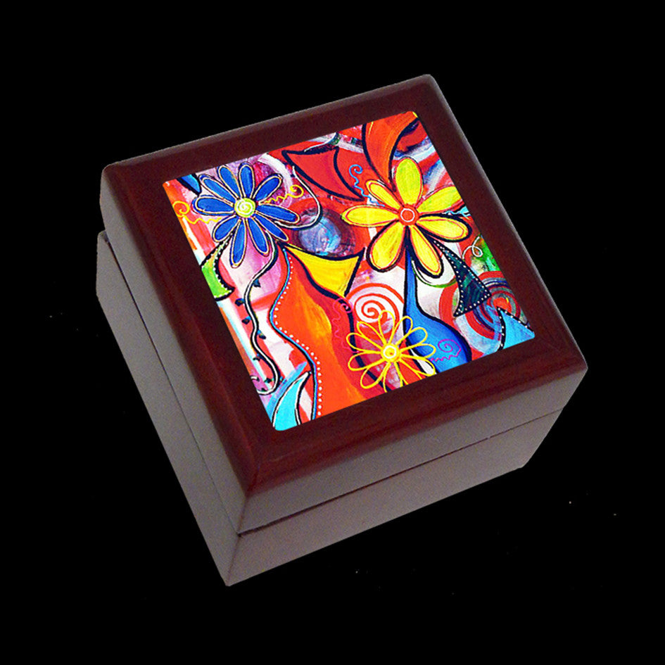 Small Jewellery Box, Earring or Ring Box, Pretty Flower Art