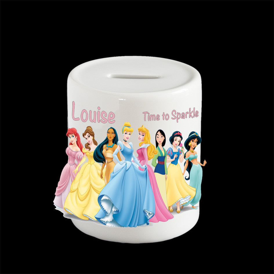 Personalised Disney Princesses money box, Disney Princesses piggy bank