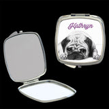Personalised Mirror Compact Pug Puppy, make up mirror square, heart, round
