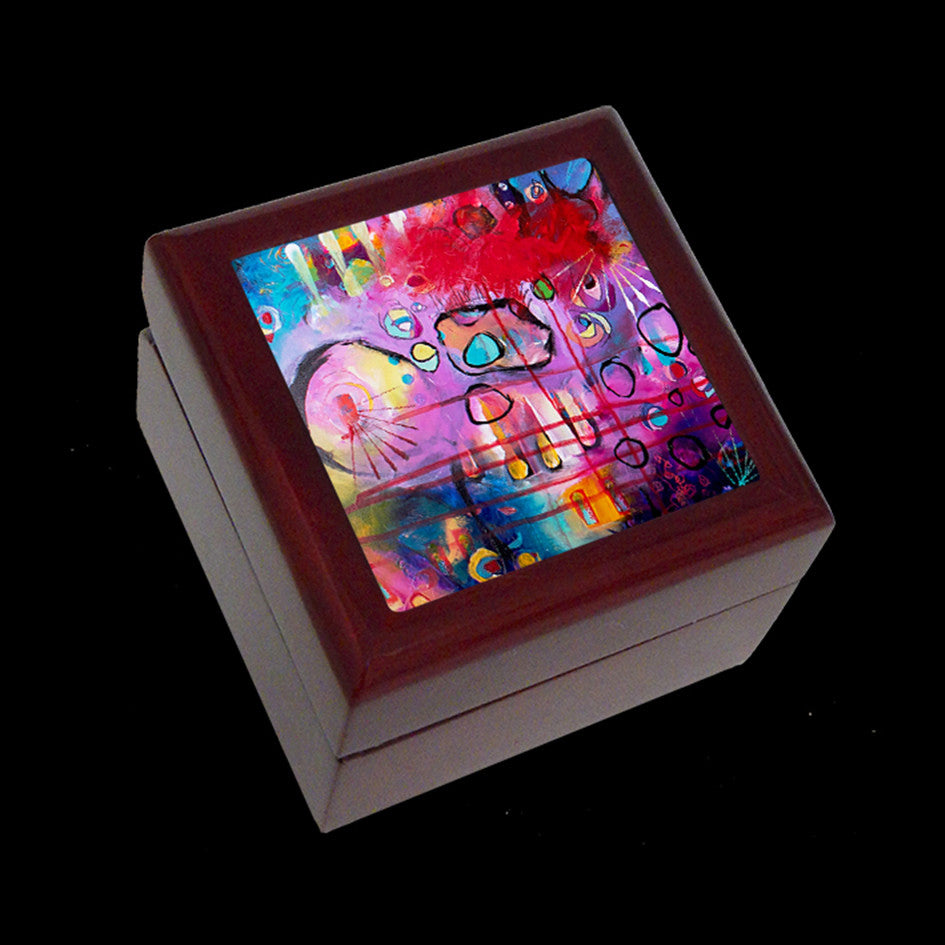 Small Jewellery Box, Earring or Ring Box, Abstract Art 2