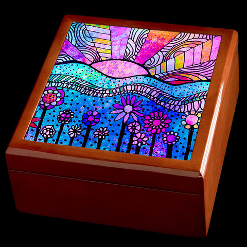 Abstract sunrise personalised jewellery box