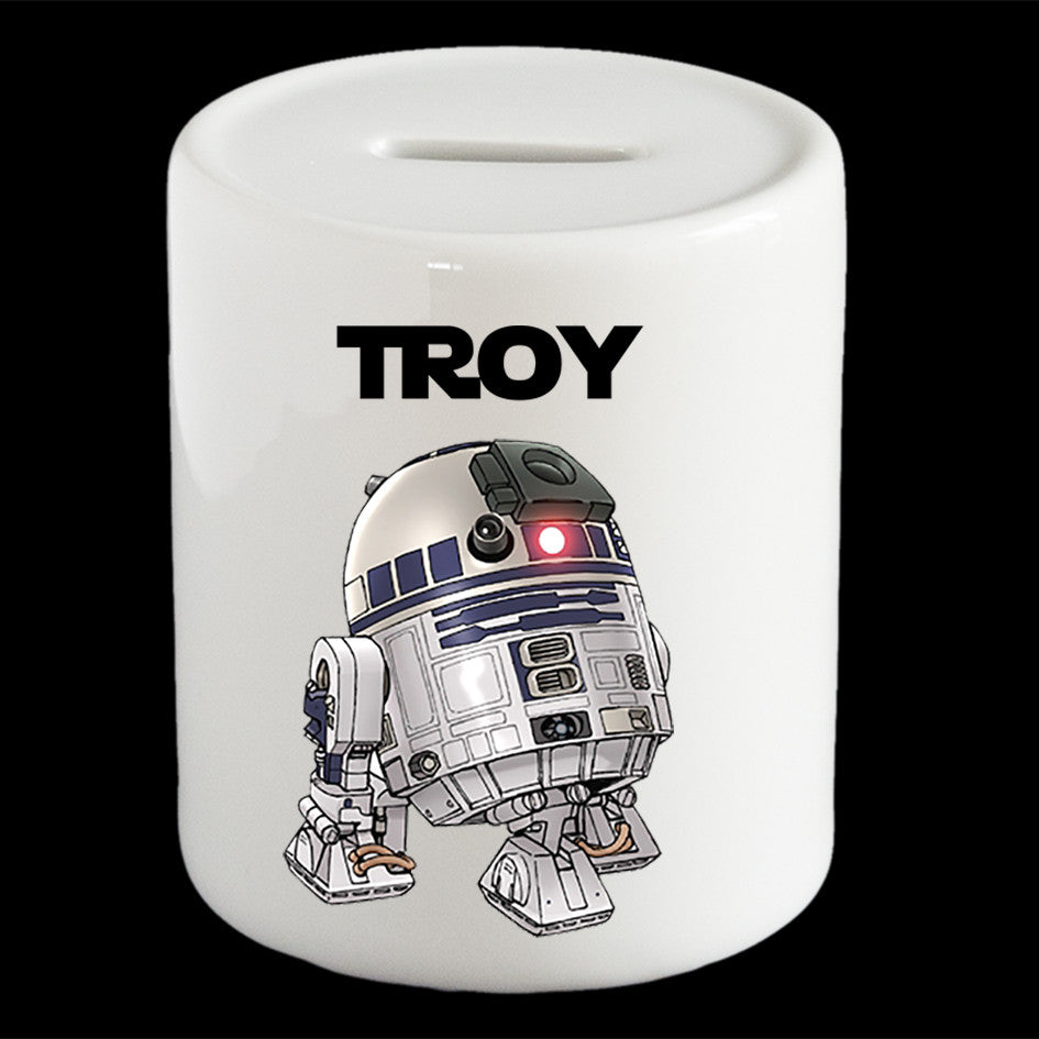 Personalised R2D2 piggy bank, Star Wars R2D2 money bank
