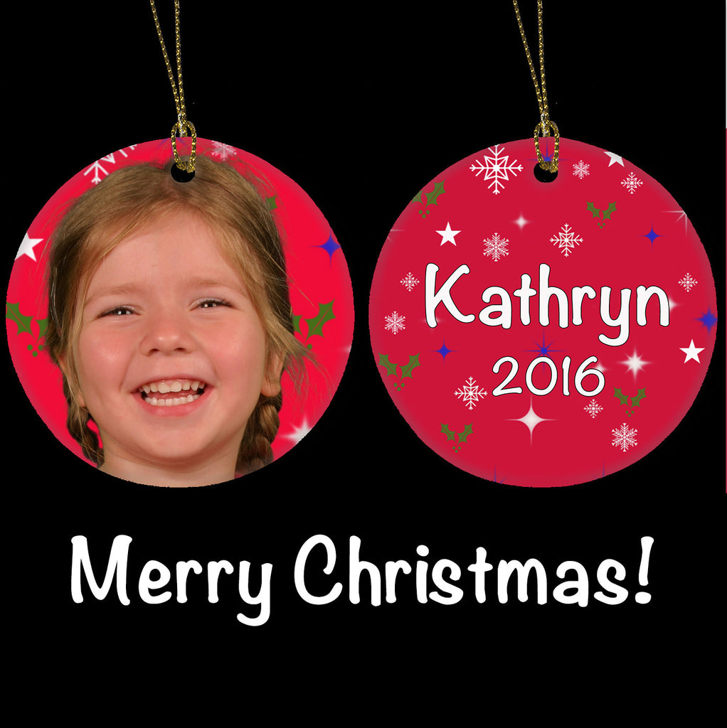 Personalised Christmas Ornament, Girls Photo gift Ceramic Christmas Tree Ornament