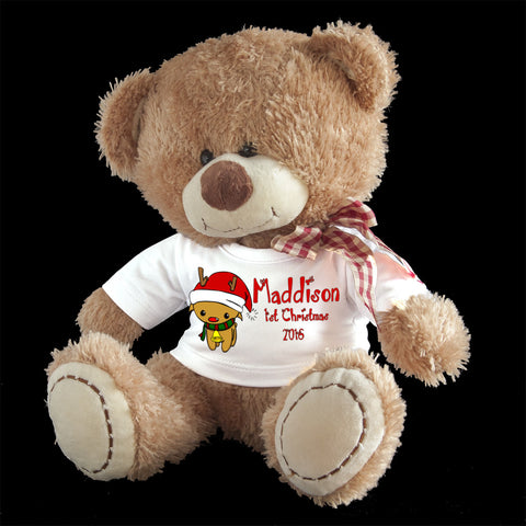 Personalised First Christmas Teddy Bear, Reindeer design
