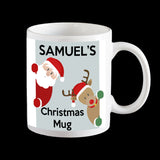 Personalised Christmas Mug with Santa and Ruldolph Reindeer