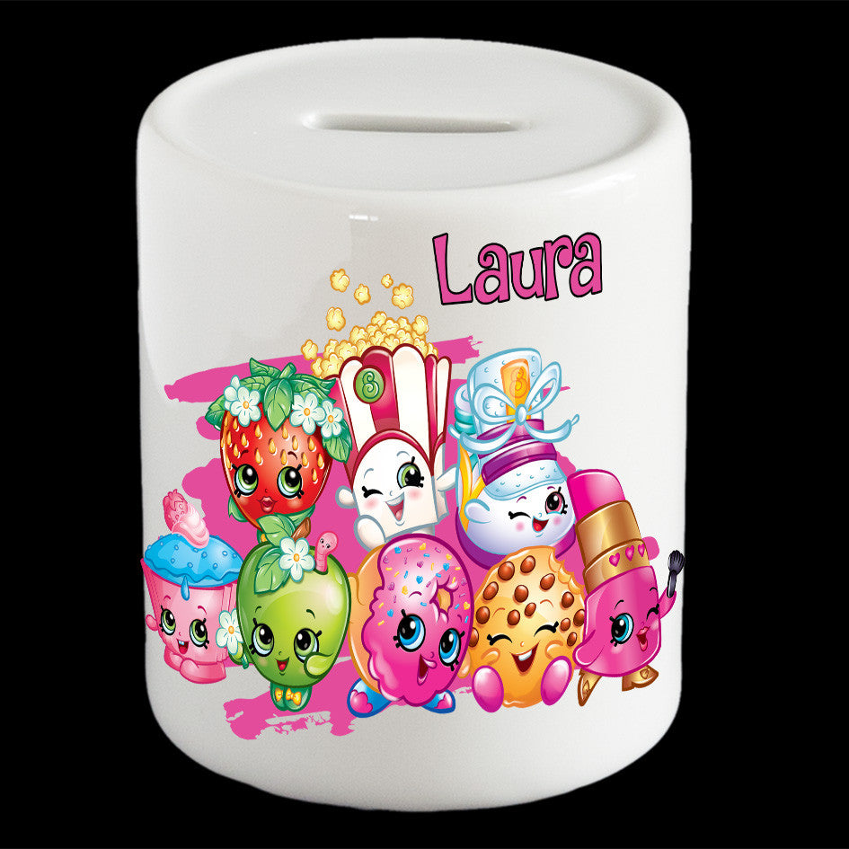 Personalised Shopkins characters money box, Shopikins piggy bank