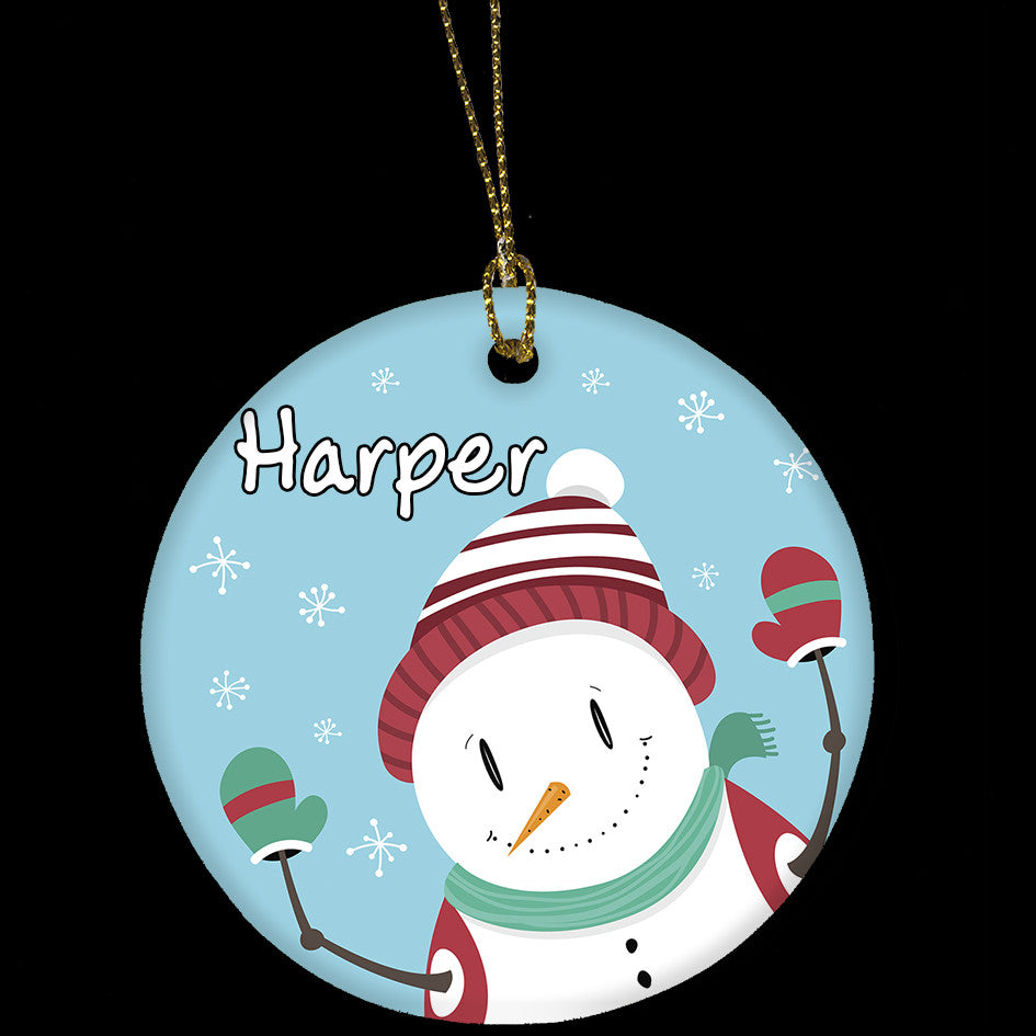 Personalised Christmas Ornament, Funny Snowman Ceramic Christmas Tree Ornament