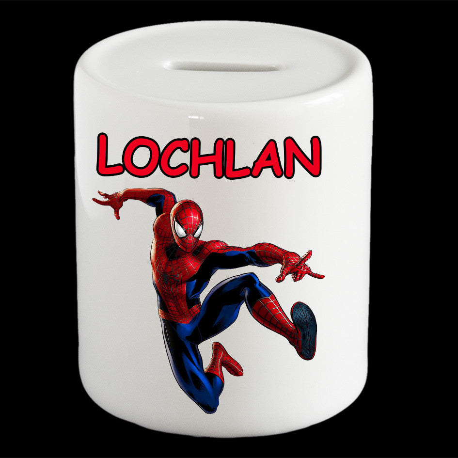 Personalised Spiderman money box, Spiderman piggy bank