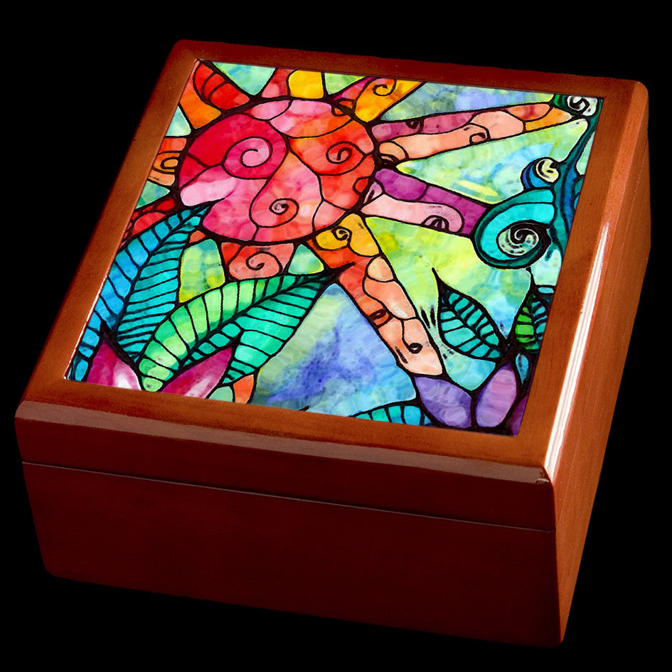 Personalised Jewellery Box, Stained Glass Sun Art, Valentines Day Box