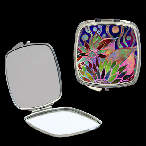 Mirror Compact, Flower stained glass effect