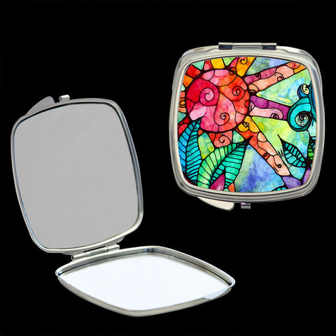 Mirror Compact, Sunrise stained glass effect