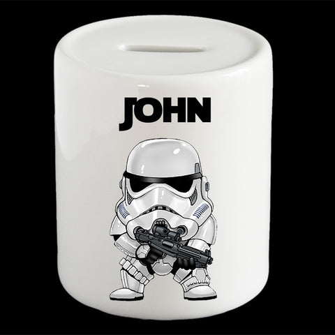 Personalised Storm Trooper piggy bank, Star Wars Storm Trooper money bank