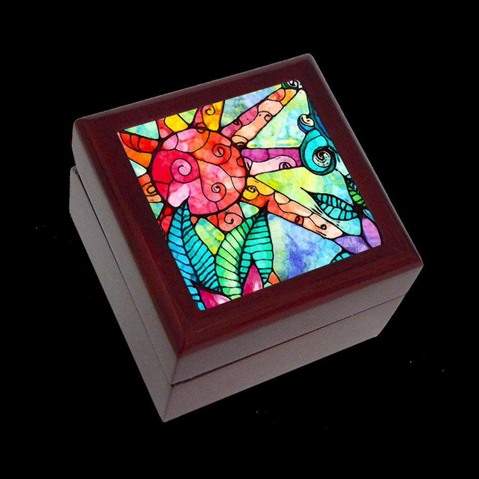 Small Jewellery Box, Earring or Ring Box, Sun Art