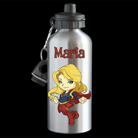 Personalised Supergirl Water Bottle, Aluminium drink bottle