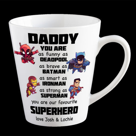 Personalised Funny Father's Day mug, Favourite Superhero, Deadpool, Batman, Superman and Ironman