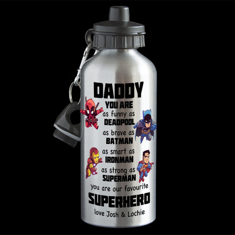 Personalised Father's Day Superhero Water Bottle, Deadpool, Batman, Superman and Ironman