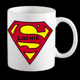 "Personalised Superman Logo Coffee Mug, Add your name to the Superman logo or Super ""Dad"""