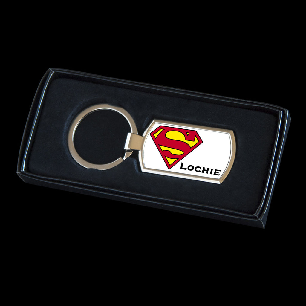 Personalised Superman logo Keyring, Superman tag for bag